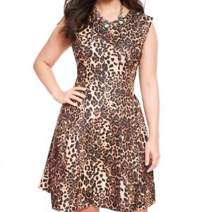 Eloquii Cheetah Fit and Flare Dress Size 20